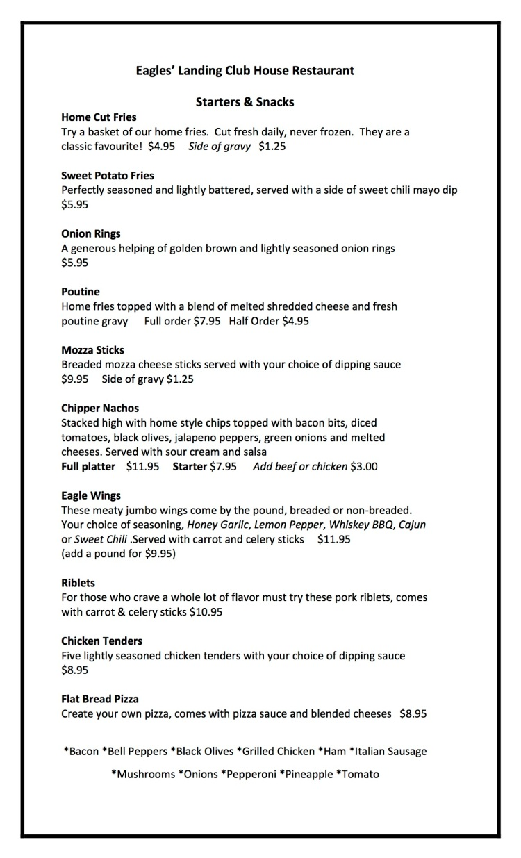 Eagles Landing Menu